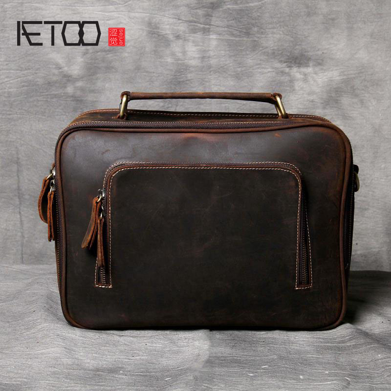 AETOO Simple imported first layer of leather briefcase men and women casual leather shoulder bag handmade original retro aetoo spring and summer new leather handmade handmade first layer of planted tanned leather retro bag backpack bag