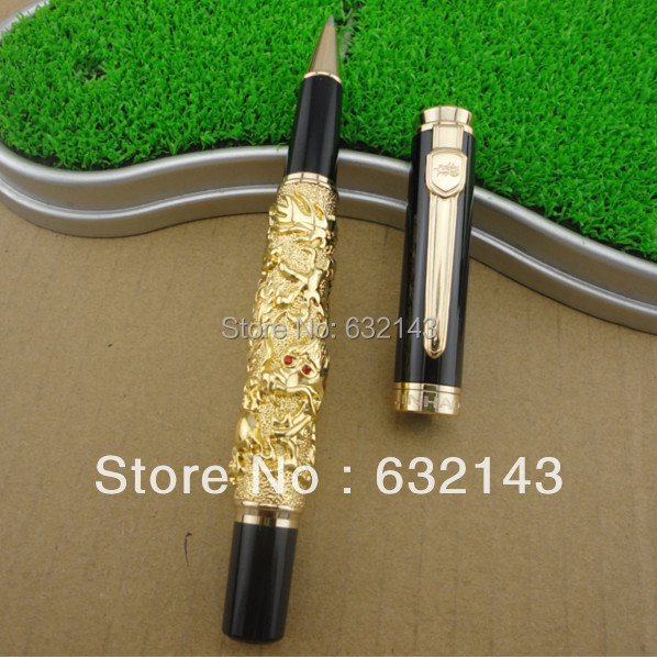 JINHAO dragon pen Luxury gold Chinese Emperor Style Dragon Play Roller Ball Pen best designer ballpoint gold pen wholesale sales promotion ballpoint pen jinhao 1683 gold roller ball pen steel metal dragon gift silver send a refill yy12