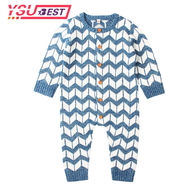 afd8e6841f45 2018 Newborn Baby Boy Girl Romper Onesie Stripe Knitted Long Sleeve Infant  Jumpsuits Spring Toddler Coverall Button Up Overalls