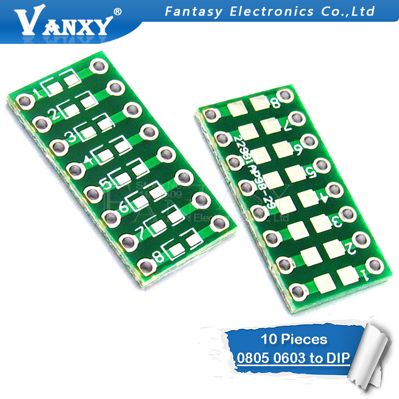 10pcs 0805 0603 0402 To DIP PCB Transfer Board DIP Pin Board Pitch Adapter Keysets