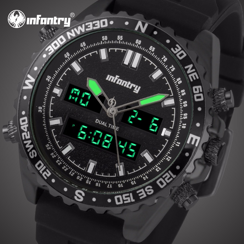 Analog Digital Military Aviator Tactical Watch For Men Black