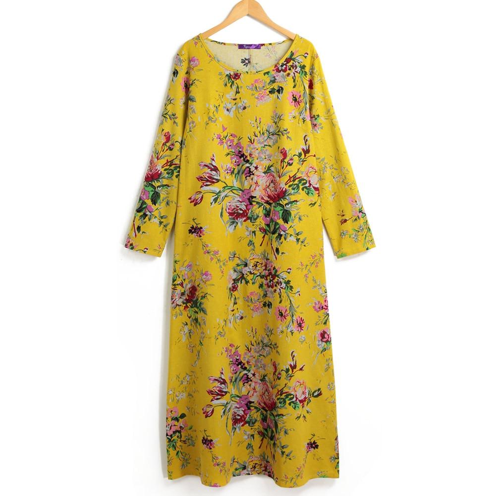 EaseHut 19 New Vintage Women Maxi Floral Dress Plus Size Long Sleeves Pockets O Neck Cotton Linen Loose Robe Dresses vestidos 9