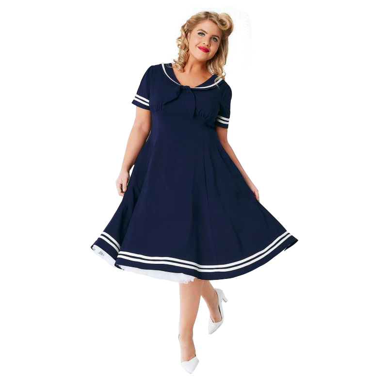 US $21.67 14% OFF|White piping navy blue plus size dress for women summer  short sleeve high waist oversized midi dress ladies navy collar dresses-in  ...