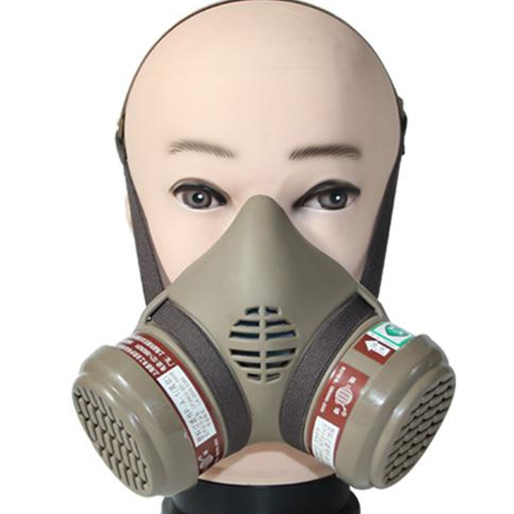 Pro 2 Cans Gas Dust Mask Respirator Activated Carbon Anti-dust Organic Vapor Benzene PM2.5 Multi-purpose Protection Tool Set activated carbon gas masks no 3 single tank protective half mask respirator against organic gases benzene gasoline acetone