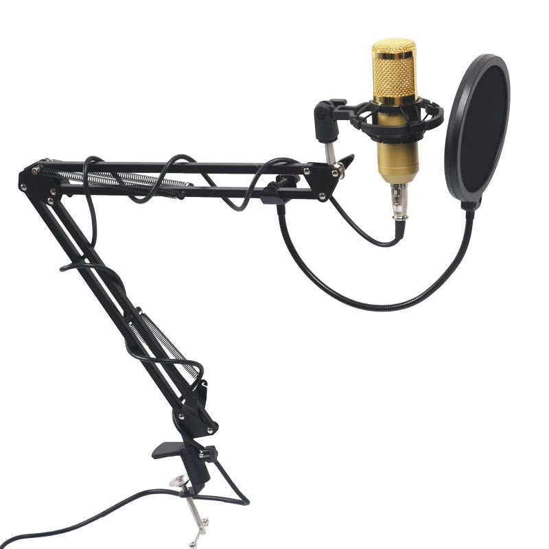 Professional Condenser Audio 3.5mm Wired BM800 Studio Microphone Vocal Recording KTV Karaoke Microphone Mic Stand For Computer gevo sf 910 microphone for phone 3 5mm cable wired with tripod stand pc mic for computer laptop karaoke studio desktop recording