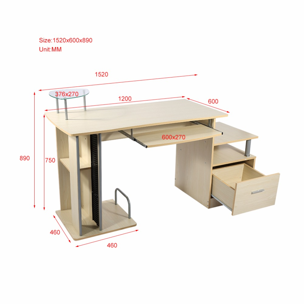 Workstation Furniture Wood Pc Desk Table Office Workstation Study Computer Furniture Drawers Modern Home Office With Storage Rack