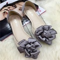 Free shipping new spring and summer transparent pointed flat shoes large size shoes scoop