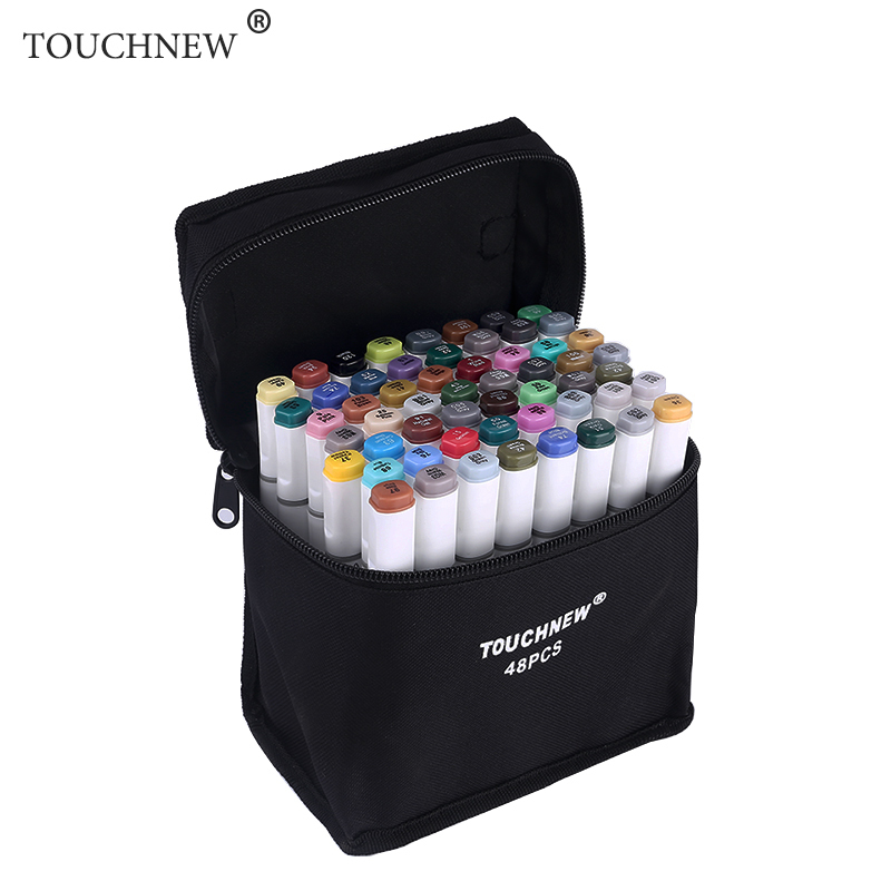TOUCHNEW 60/80/168 Colors Art Marker Set Alcohol Based Dual Headed Manga Design School Drawing Sketch Markers Pen Art Supplies touchnew 30 40 60 80 168 colors artist dual headed marker set manga design school drawing sketch markers pen art supplies