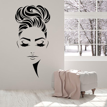 цена на Free shipping diy Beauty Hair Salon Hairstyle Girl Face Makeup vinyl wall decal home decor art mural removable wall stickers