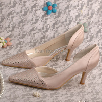 Free Shipping White Pointy Toe High Heel Evening Shoes With Crystal Ankle Strap For Wedding Bridal