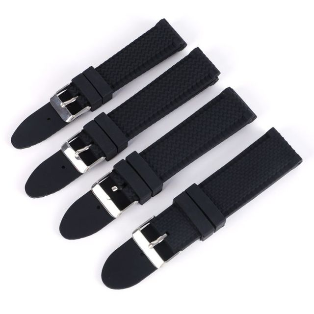 18mm/20mm/22mm/24mm Men Casual Watch Band Soft Silicone Rubber Waterproof Wrist