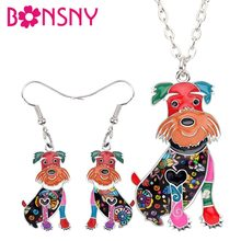 Bonsny Enamel Alloy Happy Schnauzer Dog Earrings Necklace Collar Cute Animal Jewelry Sets For Women Girls Pet Lovers Accessories(China)