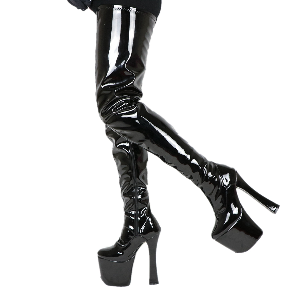 Sorbern Crotch Thigh High Long Boots Women Black 20Cm Block Heels Custom Leg Length Platform Boot Ladies Sexy Fetish Heels Shoe