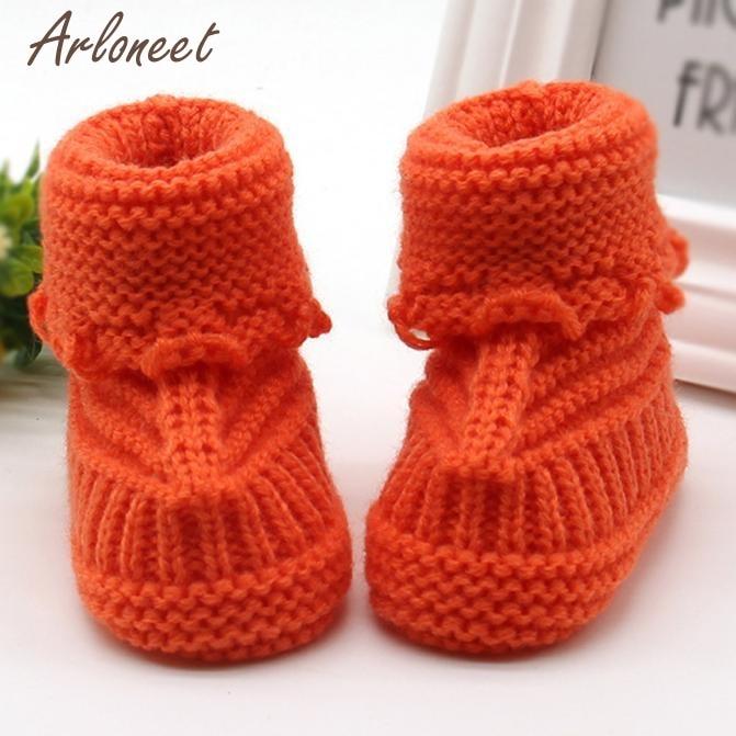 Обувь Детское вязание Кружево вязание крючком обувь Дети Твердые согреться детская обувь Впервые Уокер dec15 - Цвет: Оранжевый