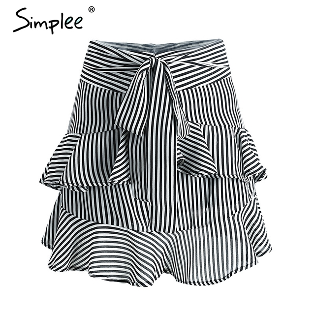 Simplee Vintage zipper short high waist shorts women Ruffle bow shorts bottom Striped sexy mini shorts summer beach culotte