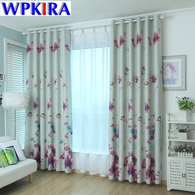 Red Print Floral Curtain Living Room Cortinas Butterfly Flower Curtains Bedroom Window Panels Blackout Cloth Purple