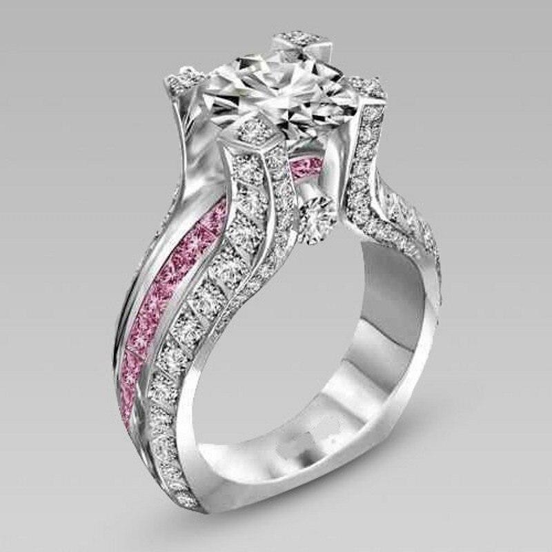 3 Couleurs choucong Vintage Bijoux Multi Gem 5A Zircon pierre 10KT Or Blanc Rempli 2-en-1 Engagement Anneau de mariage