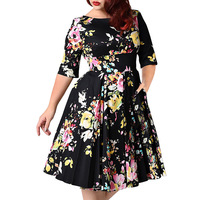 3XL 9XL Large Size Women Dress Black Back Zipper Floral Printed Tunic Big Swing Dress Plus Size Dresses For Women 4XL 5XL 6XL