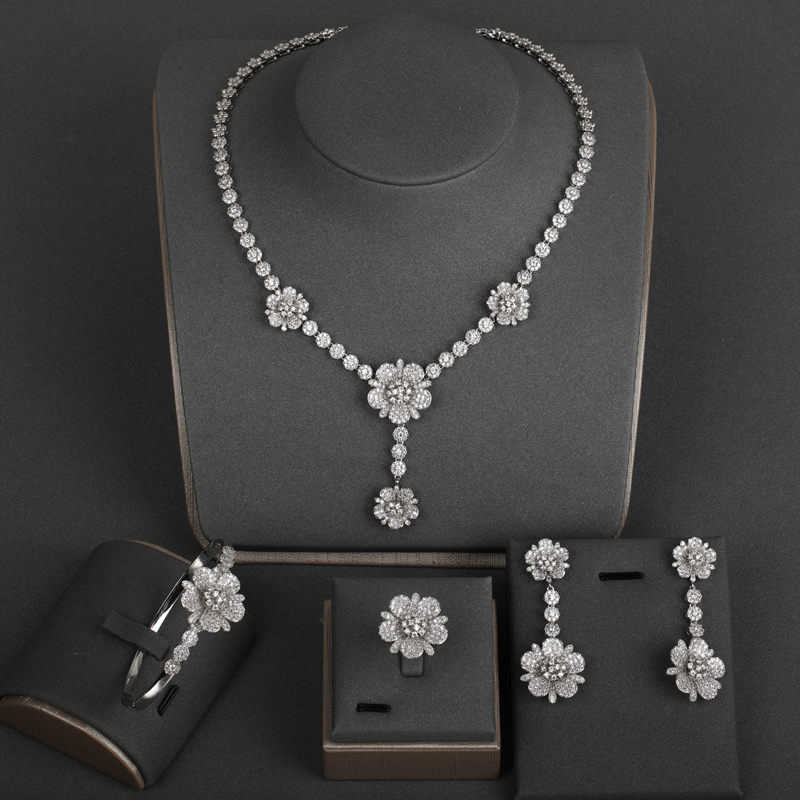 Dazz Exquisite All Zircon Silver Flower Shape Dangle Necklace Earrings Ring Bangle Sets Banquet Wedding Women Bride Jewelry SetsDazz Exquisite All Zircon Silver Flower Shape Dangle Necklace Earrings Ring Bangle Sets Banquet Wedding Women Bride Jewelry Sets