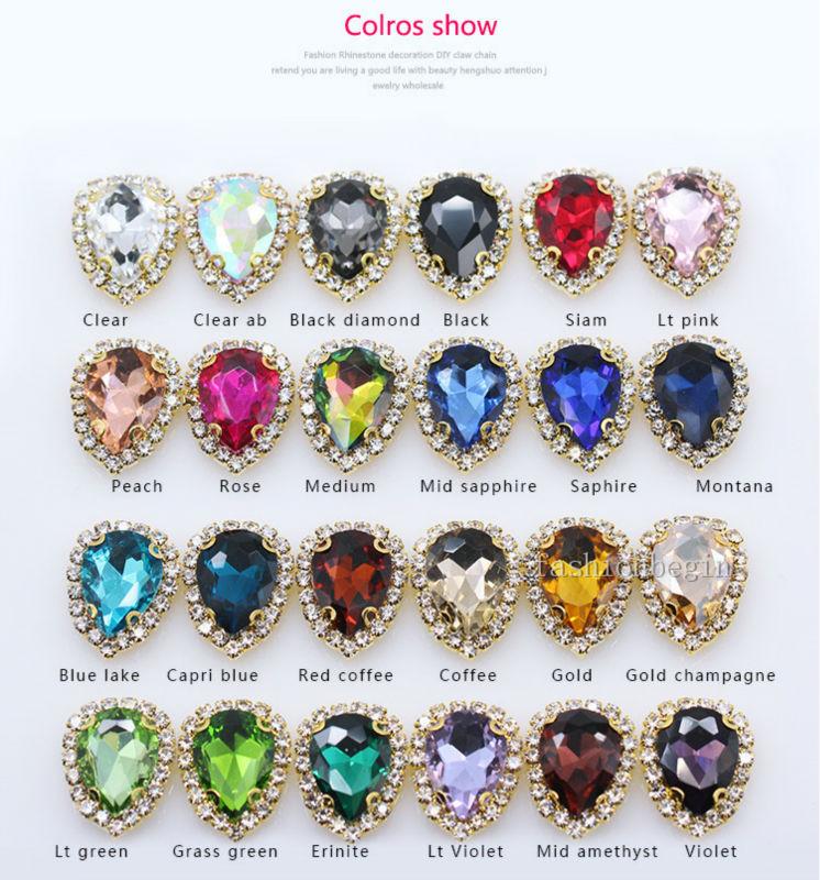 Button-Buckle Craft Rhinestone Glass-Stone Jewels Teardrop Crystal 18x25mm-Color Claw