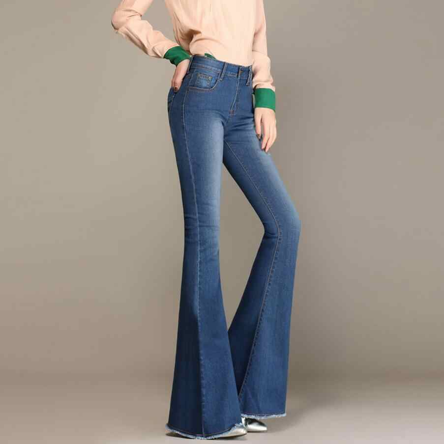 5189b16f238 ... Autumn High Waist Flare Jeans Pants Plus Size Stretch Skinny Jeans  Women Wide Leg Slim Hip ...