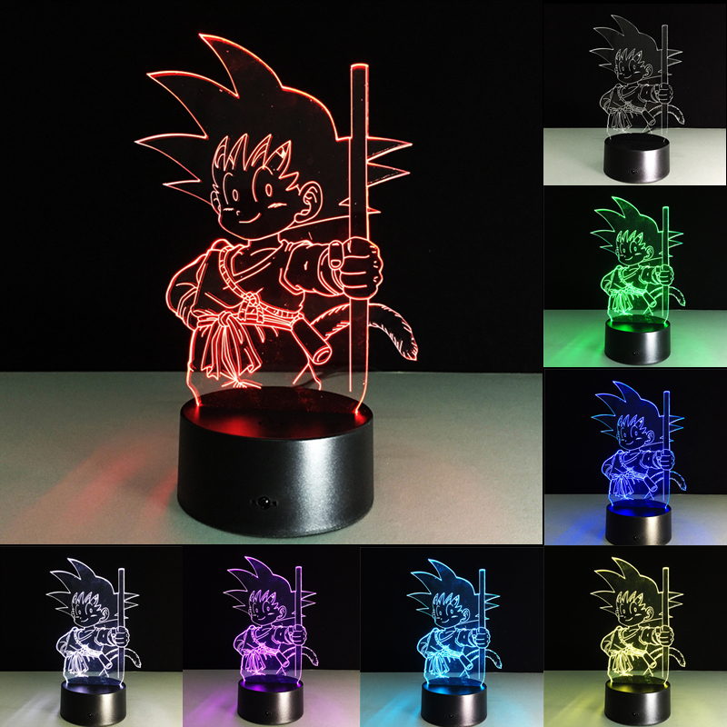 Novelty Anime 3D illusion Night Light 7 Colors LED Light USB Acrylic Table Lamp Bedside Decoration Lamp Kid Gift