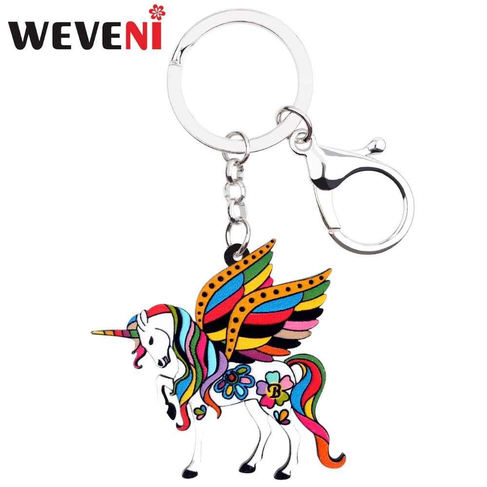 Weveni acrílico floral santo unicórnio cavalo chaveiro pingente anéis bonito animal jóias para mulheres meninas bolsa carro barato encantos