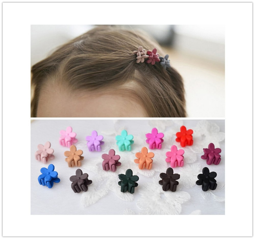 15 Pcs Mix Color New Acrylic Flower Hair Claws Baby Girls