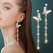 DREJEW Fashion Butterfly Pearl Long Tassel Statement Earrings 2019 925 Crystal Drop for Women Wedding  Jewelry HE2611