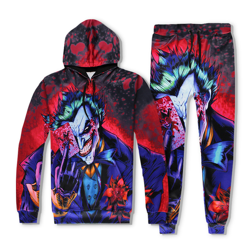 Harajuku Cartoon Joker Hoodies Pants Suicide Squad Printing 3D Sweatshirt Hip Hop Outfits Pullover Tracksuit Set