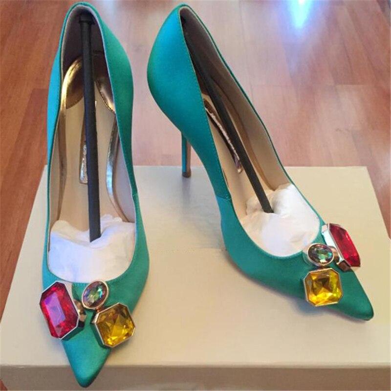 Show Mode Dames Chaussures Printemps Cristal as Femmes As Conception Talons Bureau Zapatillas Hauts Mujer La Bout À Show Pointu Haut Mariage De Été Pompes qgtPEntxaw