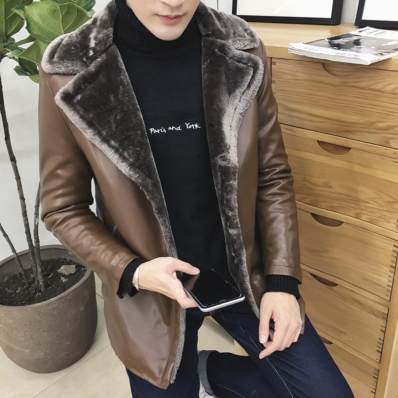 Invierno espesar piel solapa grande además de terciopelo de cuero chaqueta  abrigo de cuero ropa de hombre delgado fleece Suede cuero tamaño 8XL 71f8c43cd48f