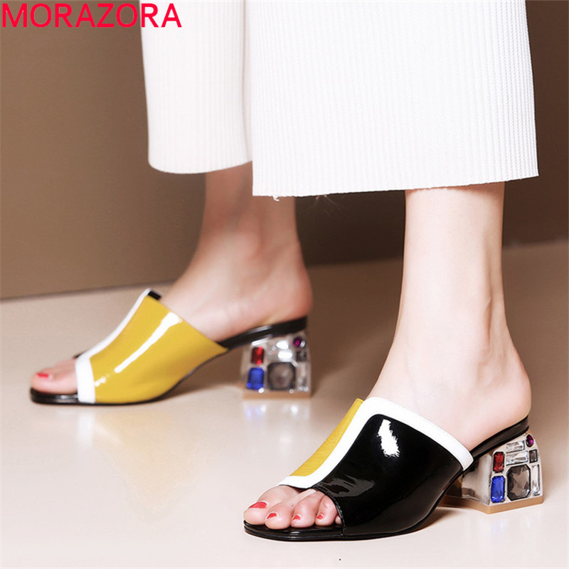 MORAZORA 2019 top quality genuine leather shoes women sandals mixed color square heels crystal summer party wedding shoes womanMORAZORA 2019 top quality genuine leather shoes women sandals mixed color square heels crystal summer party wedding shoes woman