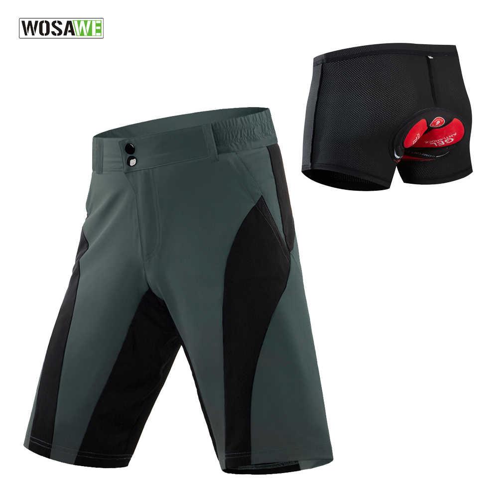 WOSAWE Mens Baggy Cycling Shorts Mountain Bike Half Pants MTB 4D Padded Shorts