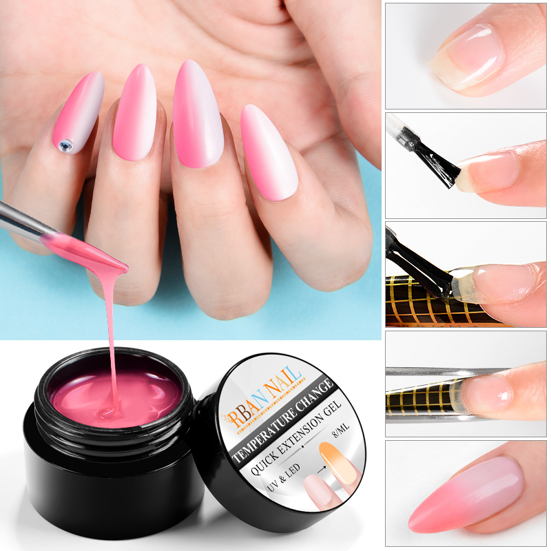 RBAN NAIL 8ml Nail Extension Gel Pink Temperature Color Changing Builder Soak Off UV Varnish Jelly Acrylic Poly