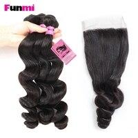 Funmi 3PCS Peruvian Loose Wave Bundles with Closure Human Hair Bundles with Closure Peruvian Virgin Hair Extensions Tangle Free
