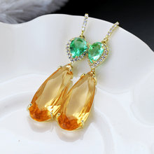 Water Drop Long Zircon Tourmaline Earrings New Arrivals XIUMEIYIZU Fashion 925 Post Rhodium Plated
