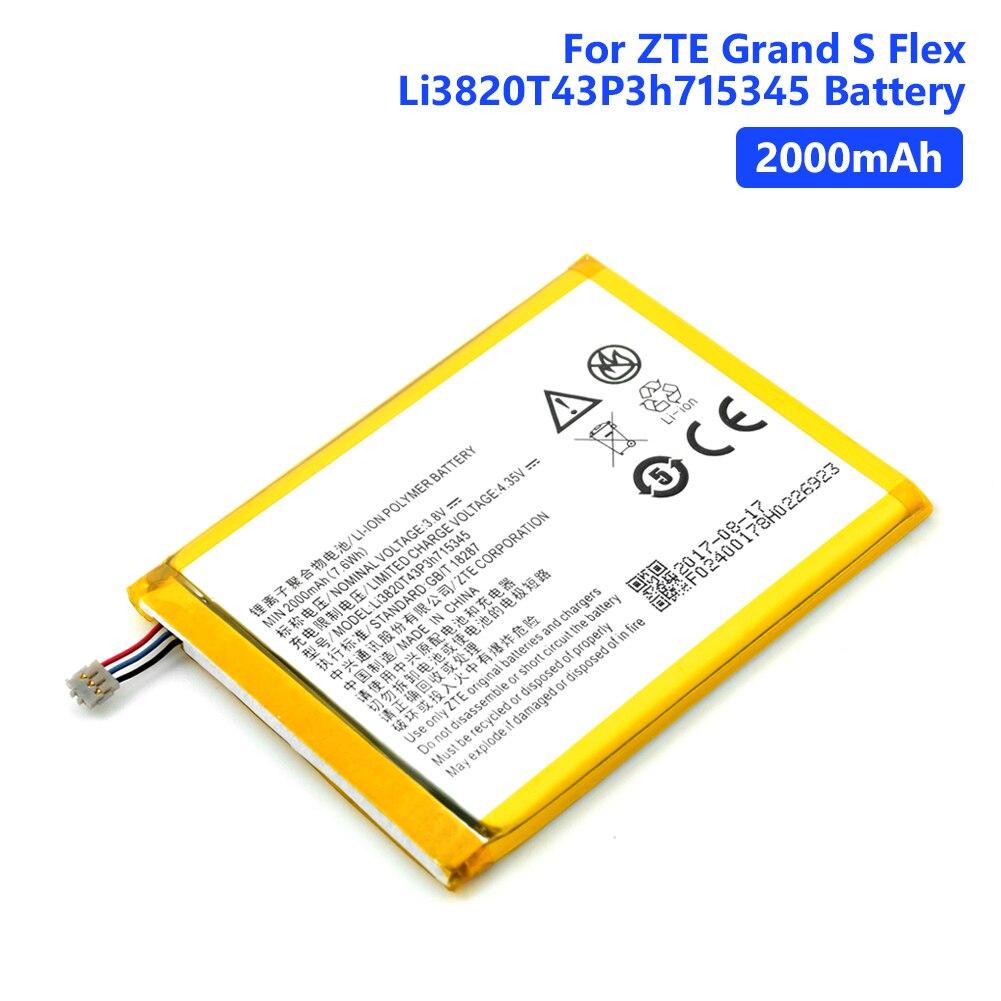 Baterias recarregáveis genuínas da bateria de li3820t43p3h715345 para o telefone mf910 mf920 2000 mah do polímero do lítio do cabo flexível de zte grand s