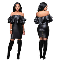 2016  Europe and America off shoulder splicing leather women dresses sexy nightclub Dress black