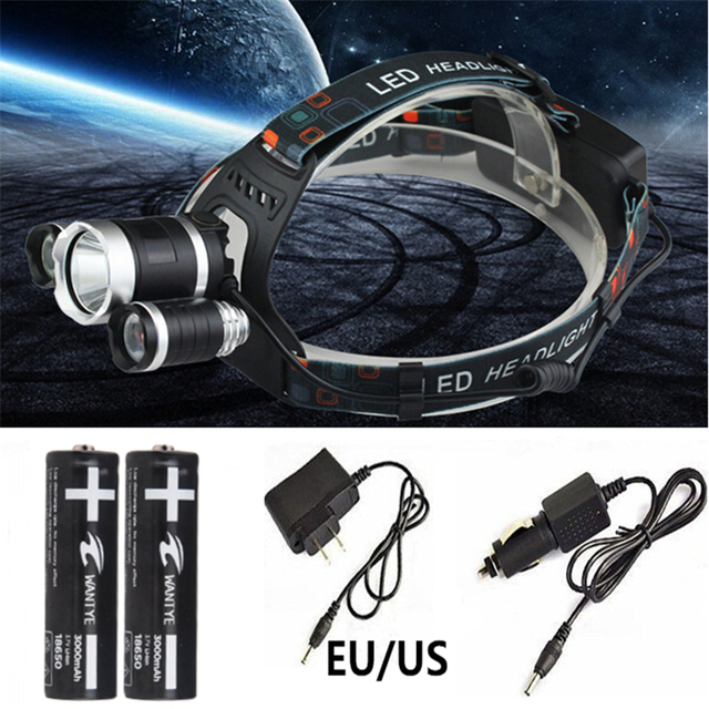 6000LM CREE XM-L T6 LED Headlamp 4 Mode Headlight Head Torch Light Lamp+EU/US Charger/Car charger+2x18650 Rechargeable battery