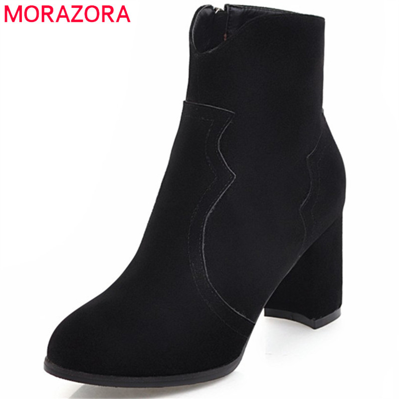 MORAZORA Pointed toe ankle boots for women high heels shoes woman fashion shoes woman autumn boots female big size 34-43 memunia ankle boots for women high heels shoes woman pointed toe fashion boots female party flock solid big size 34 43