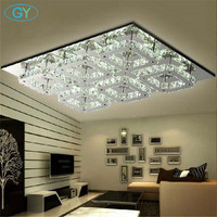 Modern Diamond 72W LED Crystal Ceiling Light Square Lustre De Cristal Light Fitting Surface Yellow Clear