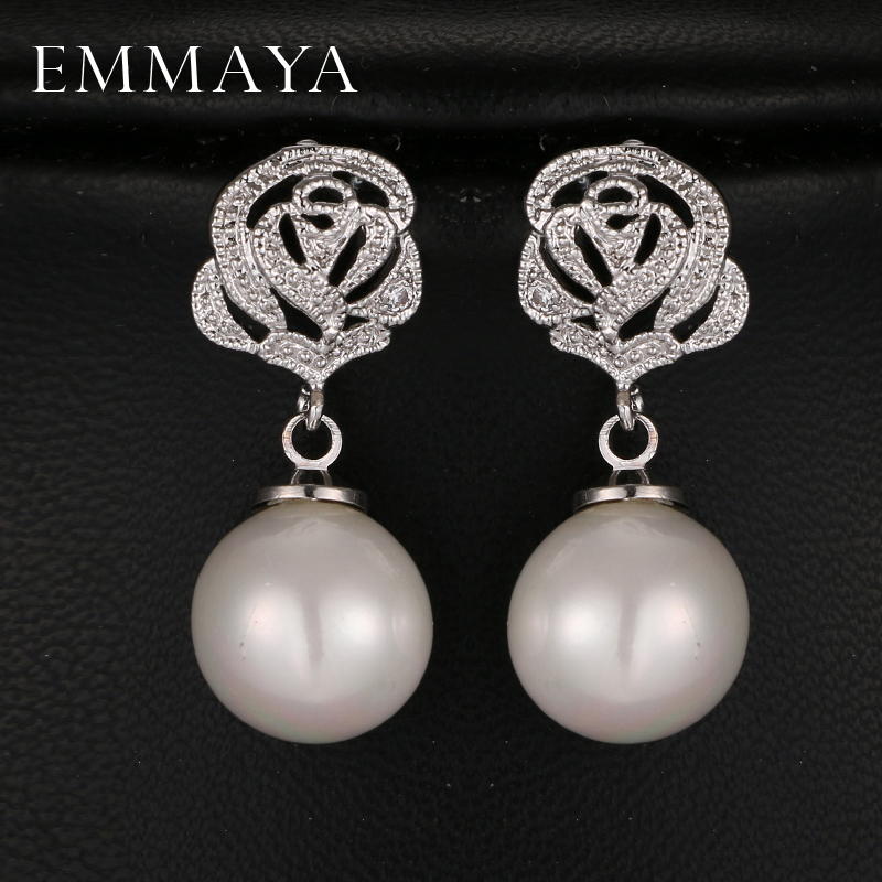 Emmaya Fashion Flower Simulated Pearl Wedding Earrings Zircon Jewelry for Women Bride Boucles D'oreilles Bijoux