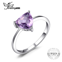 2016 Classic Charms Purple Amethyst Ring Solid 925 Sterling Silver Fine Natural Stone Engagement Ring For