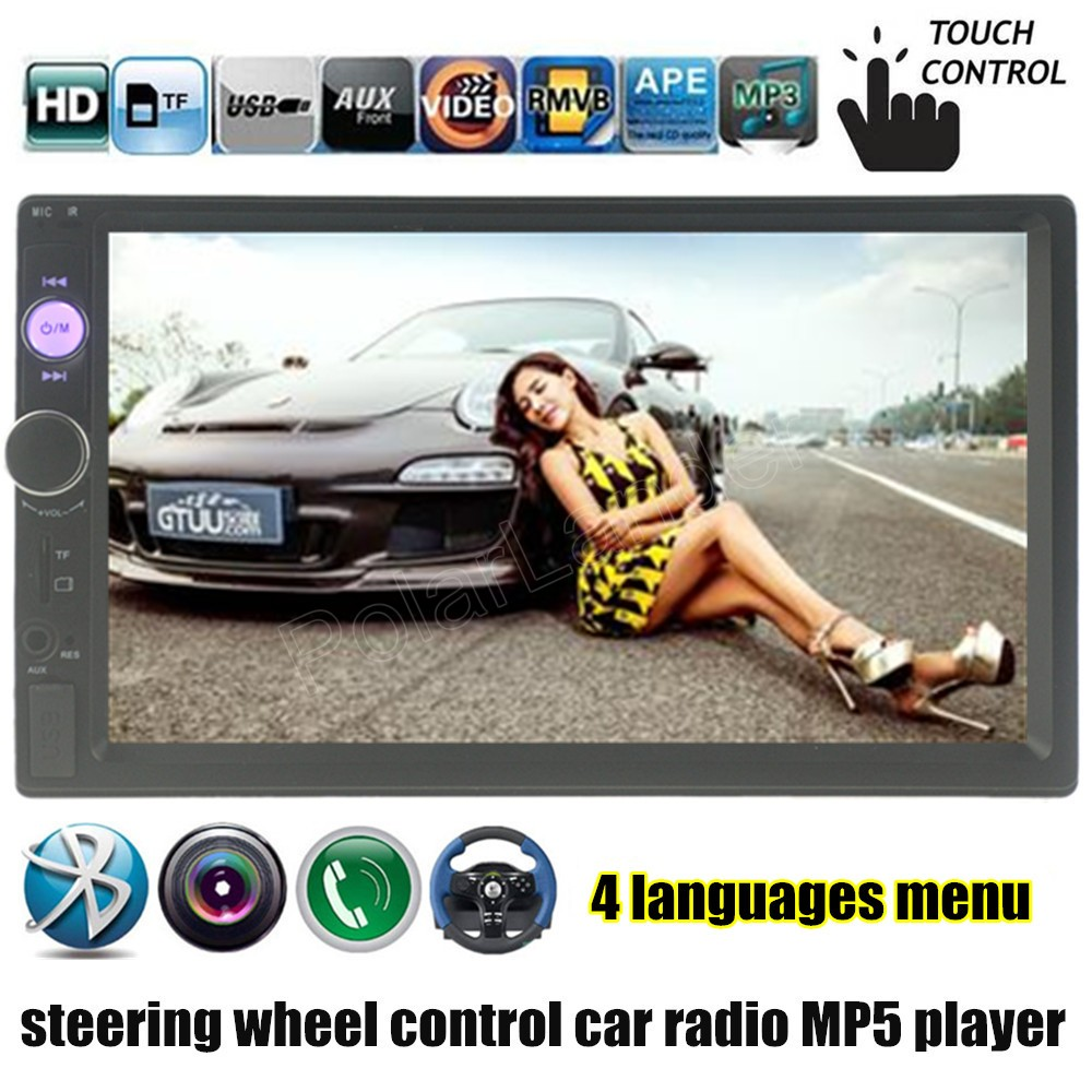 New 4 languages bluetooth for rear camera 7 inch 2 din car radio MP5 MP4 player in dash steering wheel control USB/TF/FM/Auxin