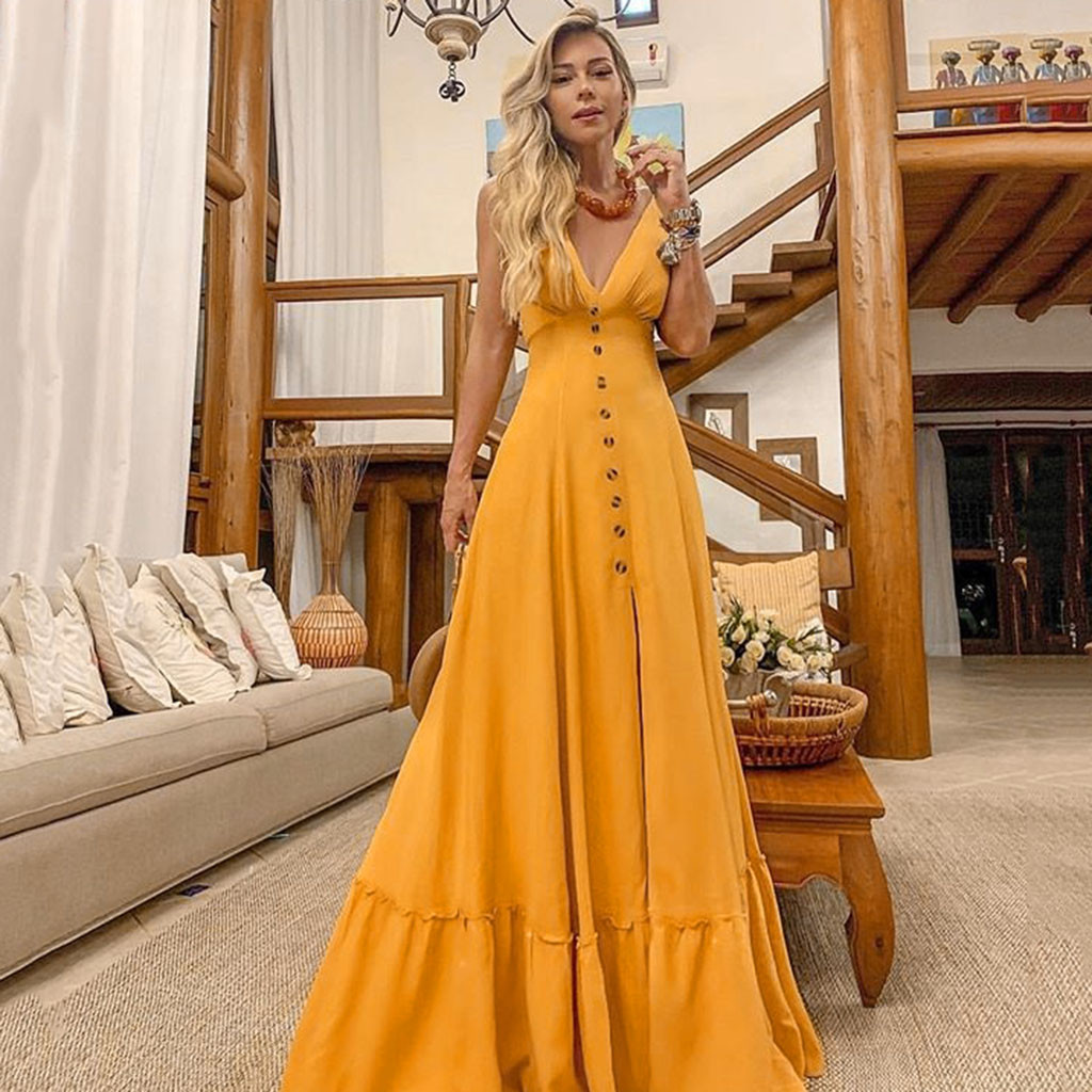 2019 yellow dresses Women Sexy Deep V lace summer dresses Sleeveless Neckless Long wedding elegant Dress robe femme 0.4(China)