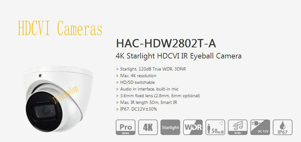 DAHUA Free Shipping Security Camera CCTV 4K Starlight WDR HDCVI IR Eyeball Camera IP67 Without Logo HAC-HDW2802T-A free shipping 12 inch touch screen 100