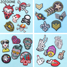 ZOTOONE 6Pcs Punk Skull Patch Appliques Fashionable Diy Embroidery Patches for Clothes Military Badges Applications Clothing
