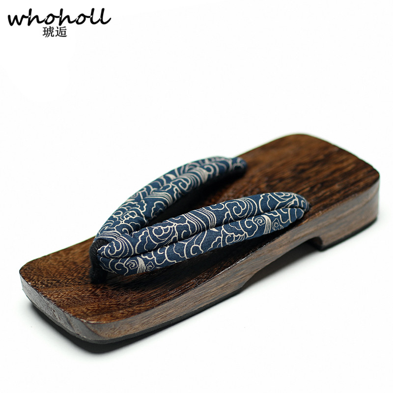WHOHOLL Geta Summer Sandals Man Clogs Wooden Slippers Japanese Geta Wooden Shoes Flat Platform Sandals Man Flip-flops Antiskid цены