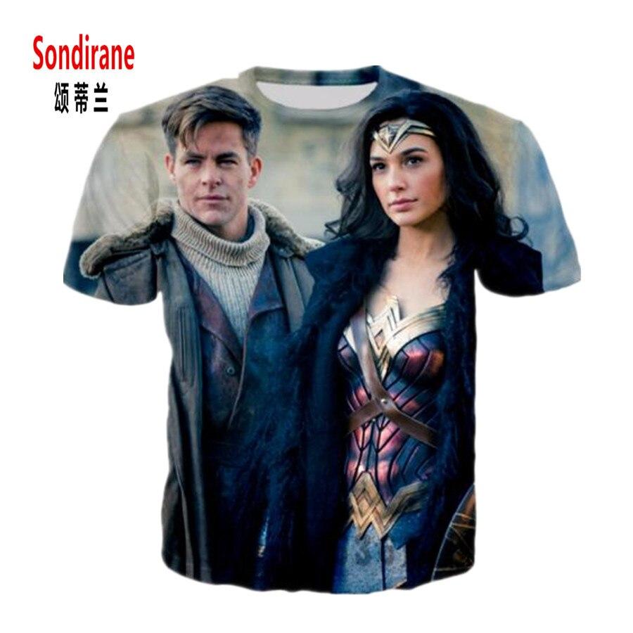 Sondirane новые модные женские туфли/Для мужчин Wonder Woman Фильм Смешной 3D принт Повседневное футболка летние шорты рукавом хип-хоп Футболки Hombre